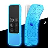 Fintie Protective Case for Apple TV 4K 5th, 4th Gen Remote - CaseBot (Honey Comb Series) Lightweight (Anti Slip) Shock Proof Silicone Cover for Apple TV Siri Remote Controller, Sky Blue-Glow