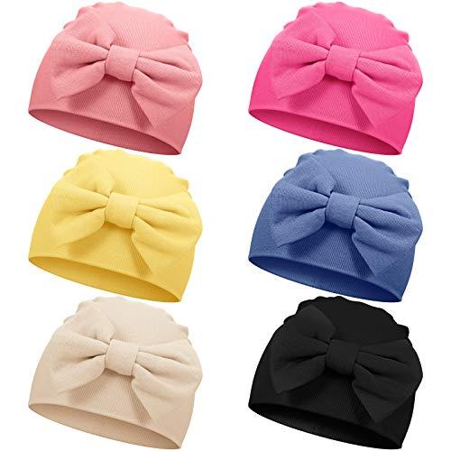 6 Piezas Gorro de Algodón Suave de Bebés Unisex Recién Nacidos con Lazo Lindo para Bebés de 0-6 Meses (Colores Brillantes)