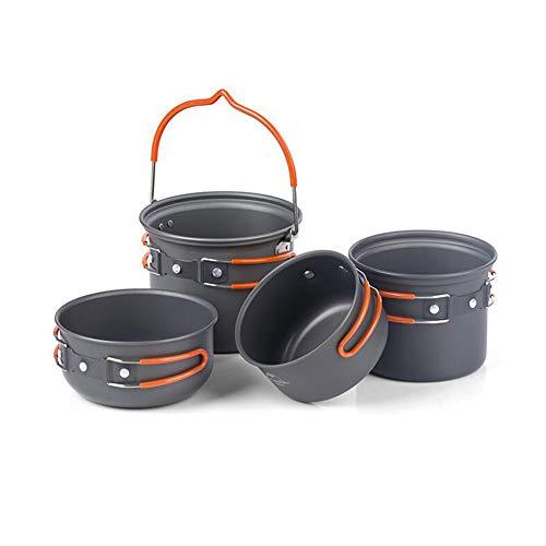 Camping keukenset, 4-delig, opvouwbare potten en pannen van lichtgewicht aluminium voor potten, pannen en potten, lichte familiekopjes, 1/2/3/4 personen