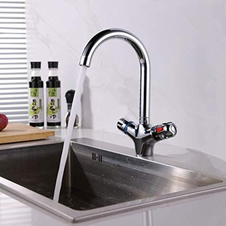 ZHUAPP Die Hhere Thermostat-Wasserhahn Der Küchenarmatur Kalt- Und Warmwassermischer Short Nose Double Handle Chrom-Finish Waschtischarmatur