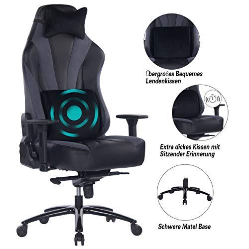 Wolmics Großer Gaming-Stuhl mit Massage-Lordosenstütze,Sitzende Erinnerung, Metallfuß und Armlehne aus Aluminiumlegierung. PC Rennbürocomputer mit hoher Rückenlehne. Ergonomischer Arbeitsdrehstuhl