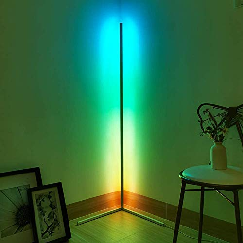 WFWPY LED Stehlampe Dimmbar mit FernbedienungStehleuchte Leselicht für Wohnzimmer Schlafzimmer Farbwechsel Lichtsaeule RGB Farbtemperaturen und Helligkeit Stufenlos Dimmbar,24W,140CM