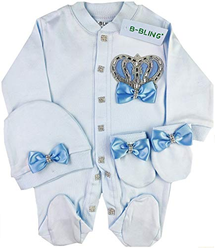 WR Home Decore Neugeborenes Baby Krone und Juwel nach Hause kommen 3 Stück Strampler Set, 0-3 und 3-6 Monate