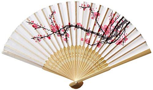 Delicate Cherry Blossom Design Silk Folding Fan Favors, 80