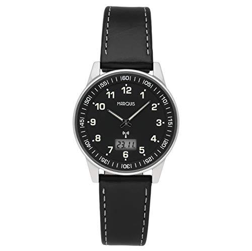 MARQUIS Herren Armbanduhr Funkuhr Schwarzes Lederarmband mit Edelstahlverschluss Edelstahlgehäuse 6907-113