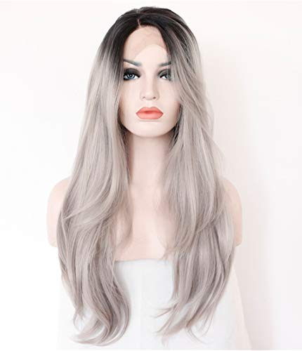 EALGA Grey Lace Front Wigs for Women Black Rooted Silver Grey Hair Wig Natural Weave Long Wigs with Black Roots Middle Part 22 inch Best Affordable Wigs for Daily Use EALGA-014