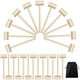 Elcoho 24 Pieces Wooden Crab or Lobster Mallets Chocolate Hammers Solid Natural Hardwood Crab Hammer for Cracking Seafood Tool