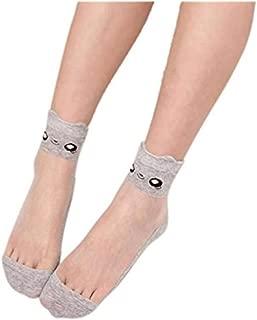 Charberry Women Lace Transparent Crystal Stockings Ultrathin Beautiful Elastic Short Socks