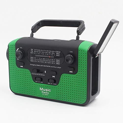 POOPFIY MANIVELLE Haut-Parleur Bluetooth Radio Portable d'urgence AM FM LED Lampe de Poche Solaire Accueil Charging,Vert