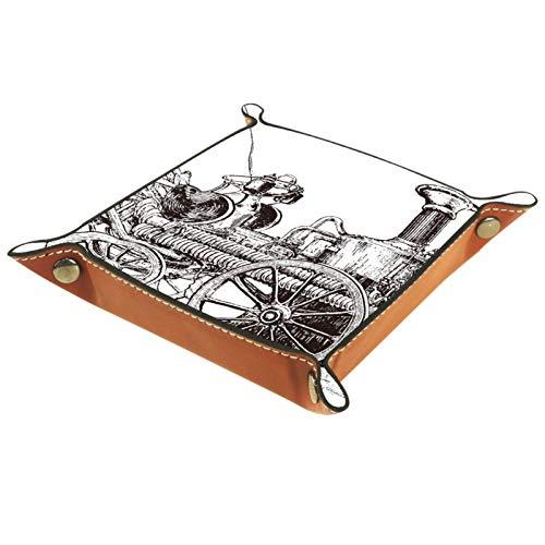 TIKISMILE Bandeja de almacenamiento con grabado antiguo equi