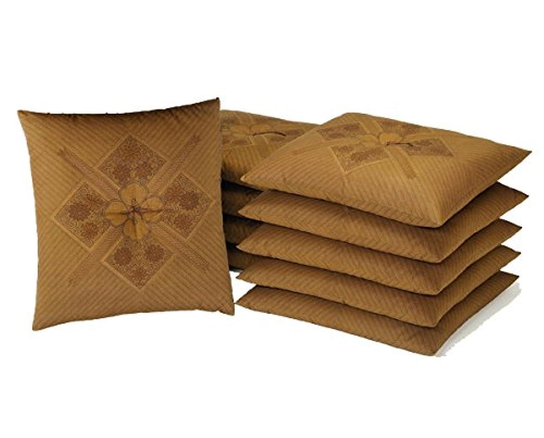 最も進む飾る国産 銘仙判座布団 ハイウェイ柄 10枚セット ブラウン系 「中わた たっぷり1kg」