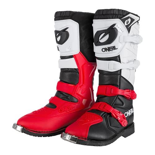 O'NEAL | Motocross-Stiefel | Enduro Motorrad | Komfort durch Air-Mesh-Innenleben, vier Verschlussschnallen, hochwertiges Synthetik-Material | Boots Rider Pro | Erwachsene | Schwarz Weiß Rot | Größe 42