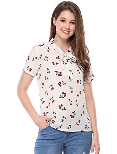 Allegra K Damen Bluse mit Kirschen-Print, kurzärmlig, Krawattenhalsausschnitt, Tops Gr. 38, weiß