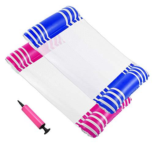 Cuskedye Schwimmbad-Schwimmliege, aufblasbare Hängematte für Pool, mit Netzstoff, Mehrzwecksattel, Lounge-Stuhl, Hängematte, Drifter (blau und rosarot)