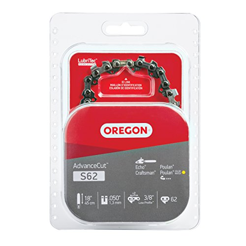 Oregon S62 AdvanceCut Chainsaw Chain for 18-Inch Bar; Fits Echo CS-400 and CS-370, Poulan 2150 and 4180 & More, .050-Inch Gauge, 62 Drive Links , grey
