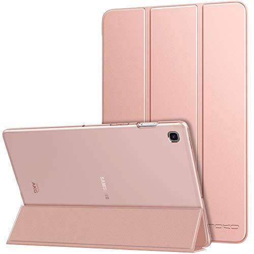 MoKo Hülle Kompatibel für Samsung Galaxy Tab S5e 2019, PU Leder Tasche Schutzhülle mit Transluzent Rücken Deckel Auto Schlaf/Wach Funktion Ideal für Galaxy Tab S5e SM-T720/SM-T725 2019 - Rose Gold