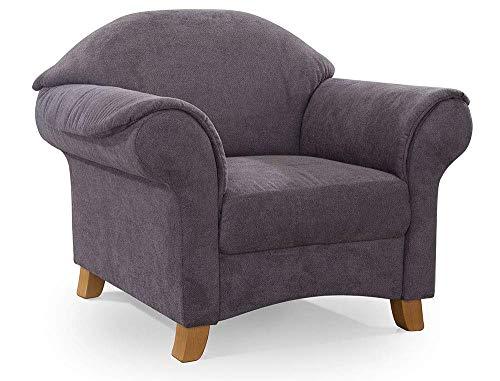 Cavadore Sessel Maifayr mit Federkern / Moderner Lounge-Sessel im Landhausstil mit Holzfüßen / 109 x 90 x 90 / grau