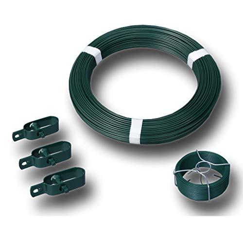 Zaun-Kit grün mit Ø 3,1 mm Spanndraht für 25m Maschendrahtzaun mit vorhandenen Pfosten