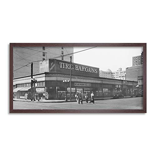 Western Tire Store 6th Street Los Angeles 1920 Framed Wall Art Print Long 25X12 Inch Oeste Calle Pared