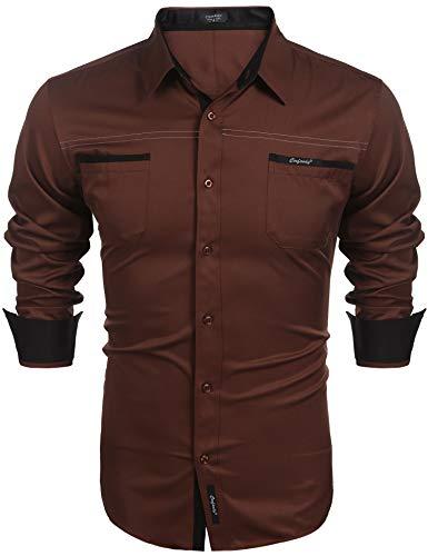 Coofandy COOFANDY Herren Hemd Freizeit Langarmhemd Slim Fit Einfarbig Kentkragen Herrenhemden Bügelleicht Sommer Hemden