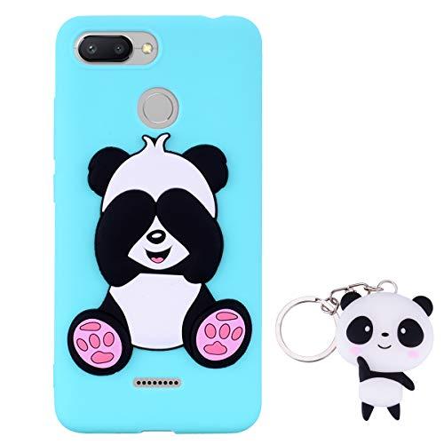 HopMore Panda Funda para Xiaomi Redmi 6A Silicona con Diseño 3D Divertidas Carcasa TPU Ultrafina Case Antigolpes Caso Protección Cover Dibujos Animados Gracioso con Llavero - Verde