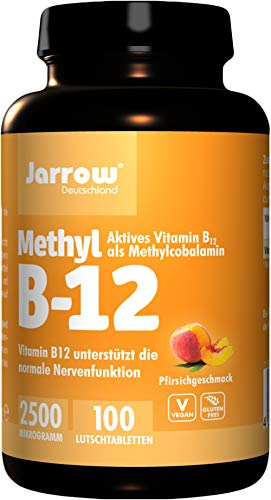 Methyl B12 2500 μg, actieve vitamine B12 als methylcobalamine, sterkere roze luistabletten met perziksmaak, veganistisch, hoog gedoseerd, etiket in 3 talen, jarrow, 1 x 100 stuks