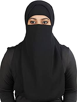 Delisa Long Saudi Niqab Nikab 2 Layers Burqa Hijab Face Cover Vei lBurka Naqaab Islam Islamic Jilbab Black
