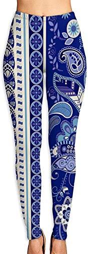 Figura de Flor Azul Leggings Estampados en 3D para Mujer Yoga Suave Control de Barriga Entrenamiento Correr Biker Mallas elásticas Leggings con Estampado Suave-L