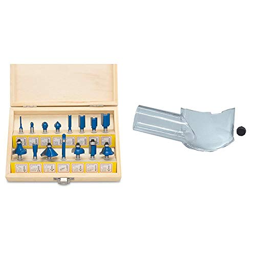 Hiltex 10100 Tungsten Carbide Router Bits   15-Piece Set & Makita 195559-1 Dust Extracting Attachment, Routers