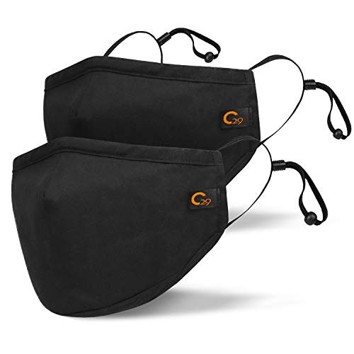 Copper Infused Face Mask With Extra Filter Pocket Protection Layer - Reusable, Washable, 3D Fit for Men and Women (2-Pack, Black, Large)