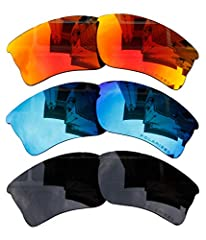 3 Pairs of lenses replacements - fire red mirror coatings, black, blue mirror coatings It offers 100% UV protection & 100% polarized, easy to install Only fits for the original Oakley quarter jacket OO9200 sunglasses frame extremely seamless Reduces ...