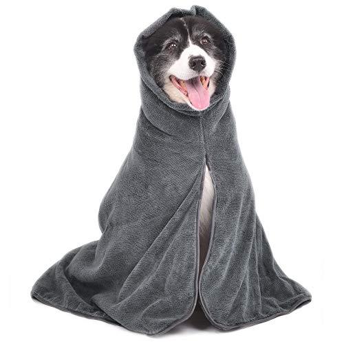 Hunde Bademantel – schnelltrocknend Mikrofaser Bademantel für Hund Katze Haustier – Puppy Badetuch super saugfähiger(grau,M)
