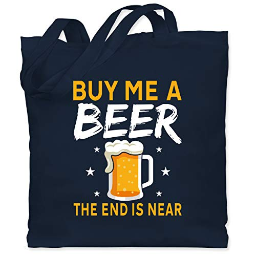 Shirtracer JGA Junggesellenabschied Männer - Buy me a beer the end is near Bier Sterne - Unisize - Navy Blau - Fun - WM101 - Stoffbeutel aus Baumwolle Jutebeutel lange Henkel