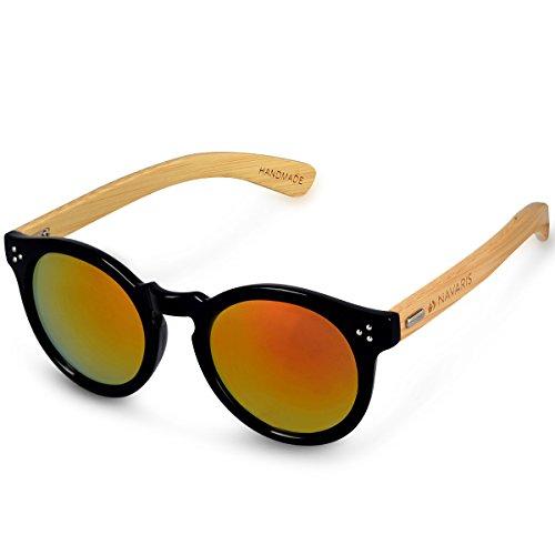 Navaris Holz Sonnenbrille UV400 - Unisex Damen Herren Retro Brille Holzoptik - Bambus Holzbrille mit Etui - Gläser in Neon Gelb