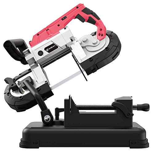 Anbull Portable Band Saw with Removable Alloy Steel Base, 45°-90° Metal Cutting, 10A 1100W Motor, 5-inch Deep Cut, with .025-by-44-7 8-Inch 14 TPI Saw Blade and Led Spotlight