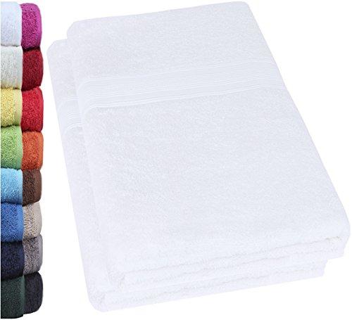 NatureMark 2er Pack DUSCHTÜCHER Premium Qualität 70x140cm DUSCHTUCH Dusch-Handtuch Doppelpack Farbe: Weiß