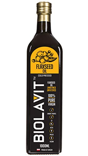 Biolavit Aceite de linaza – 100% puro y natural prensado en frío y sin refinar aceite de linaza de alta calidad en botella de vidrio oscuro M-L