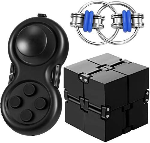 3 Pieces Fidget Toy Set Including Fidget Key Infinity Cube Flippy Chain Fidget Pad Stress Reducer product image