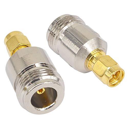 BOOBRIE Adaptador para antena coaxial RF tipo N hembra a SMA macho, convertidor de cable coaxial para antenas de radio de transmisión WiFi Paquete de 2