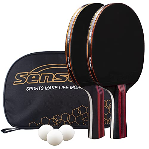 Senston Palas Ping Pong,Pelotas Ping Pong Set , 2 Raquetas de Tenis de Mesa + 3...