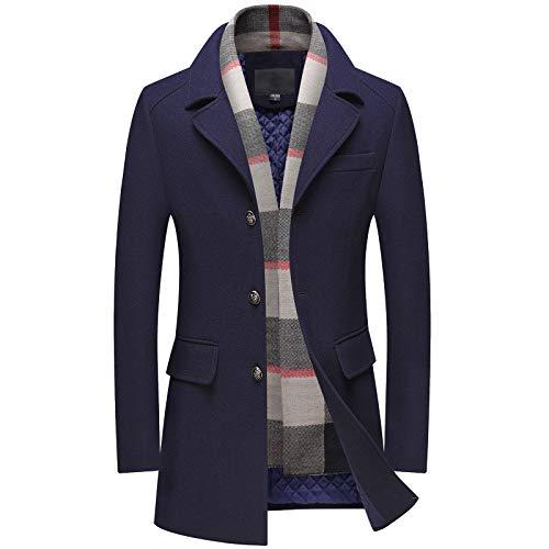 Uomo Cappotto Di Lana Con Sciarpa Rimovibile Long Business Lana Trench Coat Outwear Abbigliamento Casual Jacket Darkblue-S