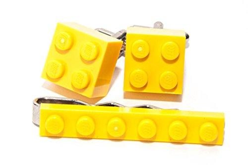 Jaune Véritable Lego Pince à cravate et boutons de manchette – Funky rétro Cool Boutons de manchette fabriqué par Jeff Jeffers