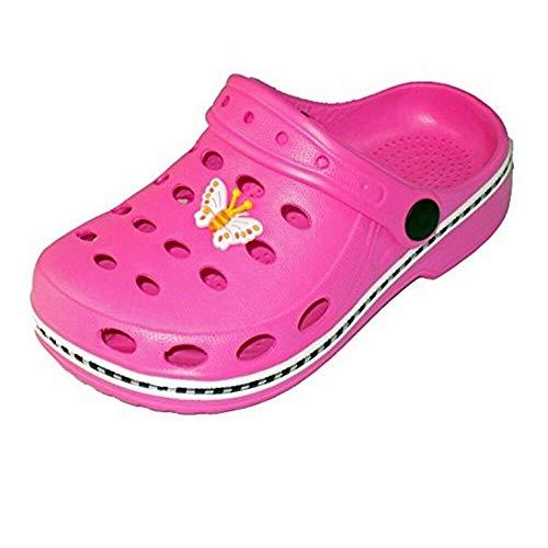 Magnus Kinder Clogs Hausschuhe (49A) Badeschuhe Badelatschen Pantoletten Schuhe Neu Farbe Pink, Größe 30/31