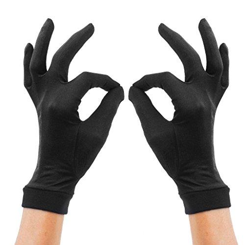 Lsharon Handschuhe, 100 % Maulbeerseide, Thermo-Innenhandschuhe, Ski- und Fahrradhandschuhe Gr. 85, Schwarz