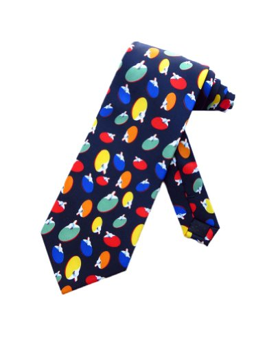 Parquet Mens Ping Pong Table Tennis Necktie - Navy Blue - One Size Neck Tie Pingpong