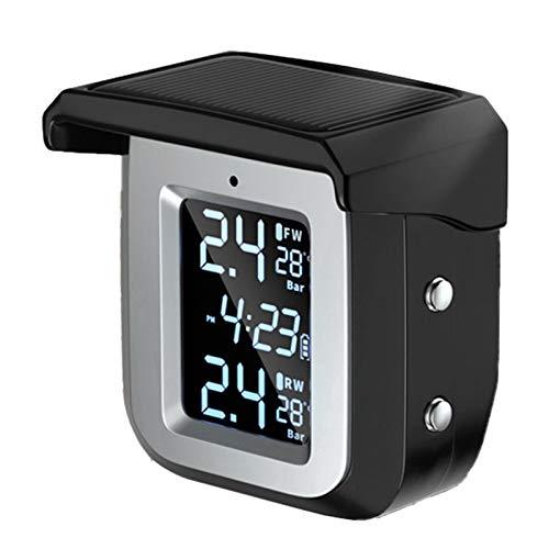 Laimiko Sensores Externos Carga Solar TPMS Impermeable Motocicleta Sistema de Monitoreo de PresióN de NeumáTicos en Tiempo Real Pantalla LCD InaláMbrica