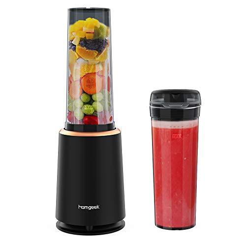 homgeek Mini Frullatore 230W,frullatore per frullati e smoothie,per Frappè, Ghiaccio, Frutta e Verdura,con Senza BPA Portatile Bottiglie da 400ML, 21,000 giri/min, Nero