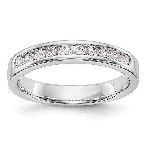 Anillo de boda de oro blanco de 14 quilates con 10 piedras de diamante para mujer