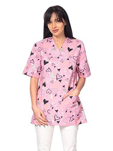 DINOZAVR Bruna Sanitario Camisa Médica con Cuello en V para Mujeres Rosa/Corazones S