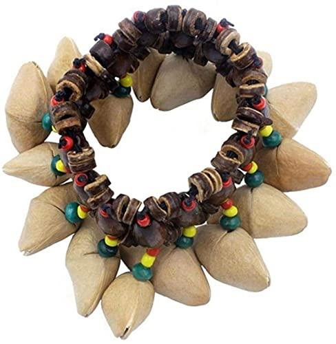 HYJMJJ Feng Shui Perle Armband Handgemachte Nüsse Shell Armband afrikanische Trommel Percussion Handbell für Zubehör 1 stück Amulett-Perl-Armband (Color : As Shown)